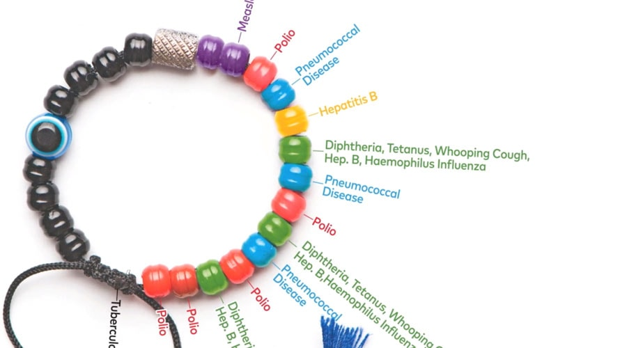 A colored beaded bracelet; each color stands for a different disease like hepatitis C or Polio