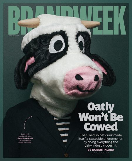 Brandweek cover featuring Oatly oat milk