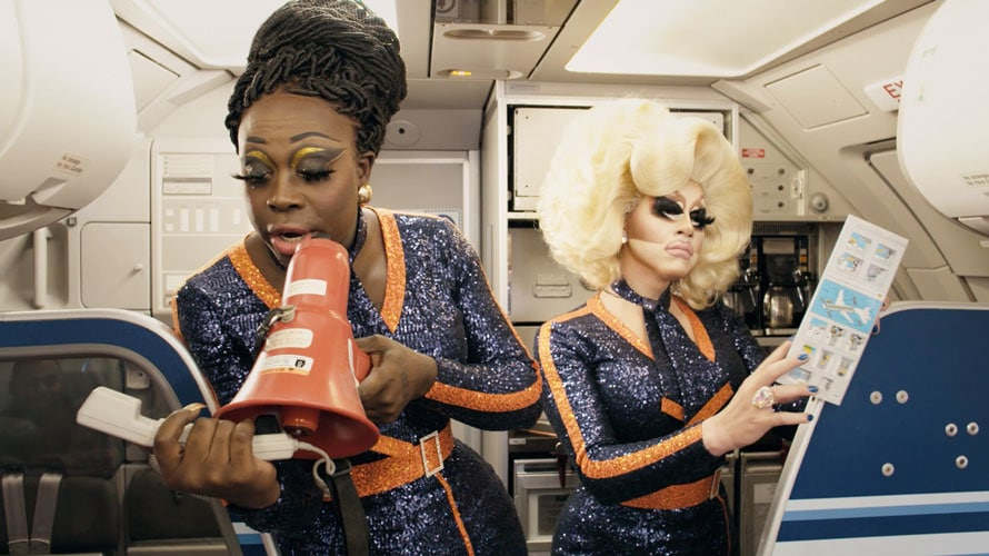 Bob the Drag Queen and Trixie Mattel for an in-flight video spoof