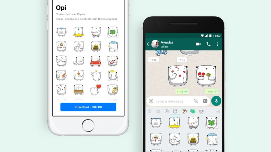 Preview of WhatsApp's new Opi sticker pack