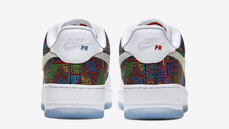"Back of Nike Air Force on next to the Nike logo is blue ""PR"" on the left shoe and a red ""PR"" on the right shoe"
