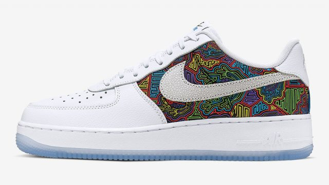Side profile of a pair of Nike Air Force 1 with a colorful design around the swoosh
