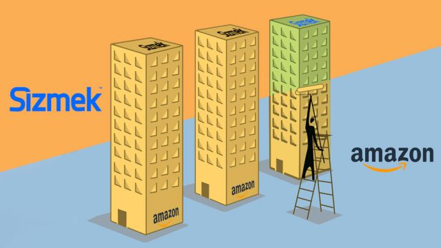 Three yellow buildings in a diagonal line; in the top left corner is the word 'Sizmek';' in the bottom left corner is the Amazon logo