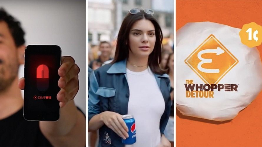 "Three images: On the left a person is seen holding up a phone; in the middle Kendall Jenner is holding a can of Pepsi; on the right is a picture of a Whopper wrapper that says ""The Whopper Detour."""