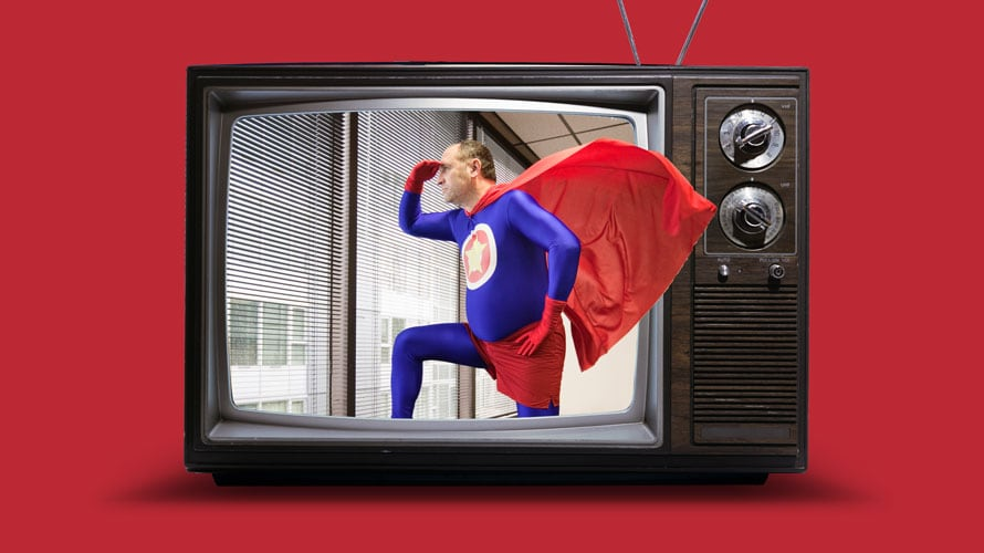 A vintage television set is against a red background; on the Tv is a middle aged superhero looking out the blinds of a building