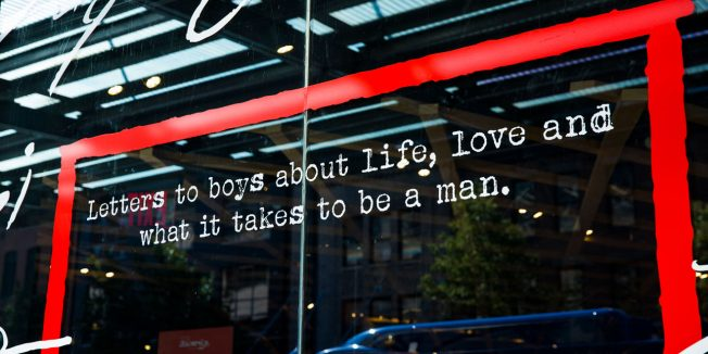 Word art from Gillette and Fatherly's activation reading 'Letters to boys about life, love and what it takes to be a man.'