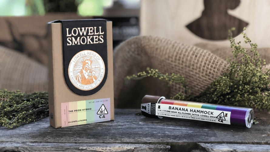 On the left is a pack with the label 'Lowell Smoke' and on the right is a cylinder that says 'Banana Hammock'