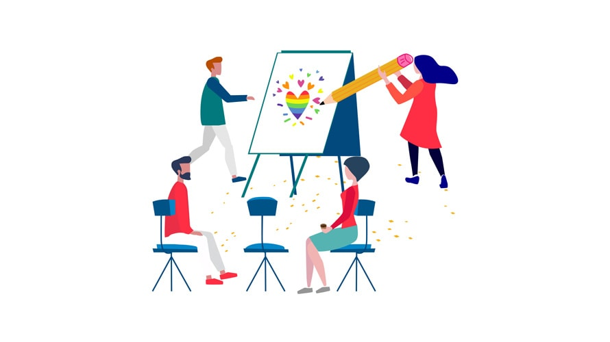 Four people circle around an easel; in the center of the easel is a rainbow colored heart