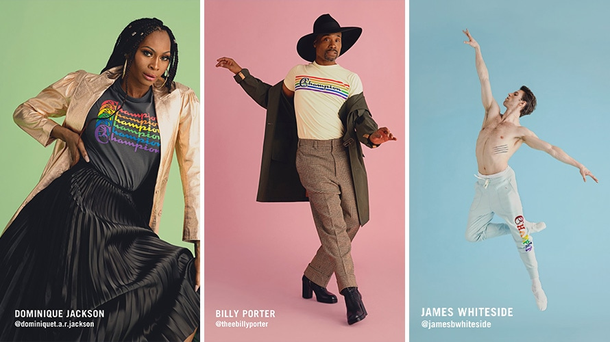Three images; on the right is Dominique Jackson; in the middle is Billy Porter; and on the right is James Whiteside