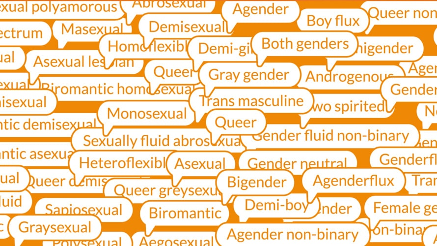 A bunch of homophobic slurs in what looks like word bubbles