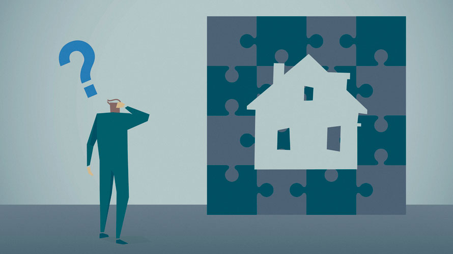 A house is surrounded by puzzle piece; a person looks at the house and puzzle pieces with a question mark above their head