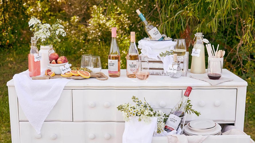 Sutter Home wines arranged on a counter for a story on wine brands