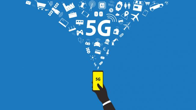 A hand holding a smart phone that says 5G; A strong signal coming out of the phone with 5G in the middle