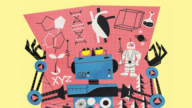 Blue robot holding up a pink map with figures and shapes on it.