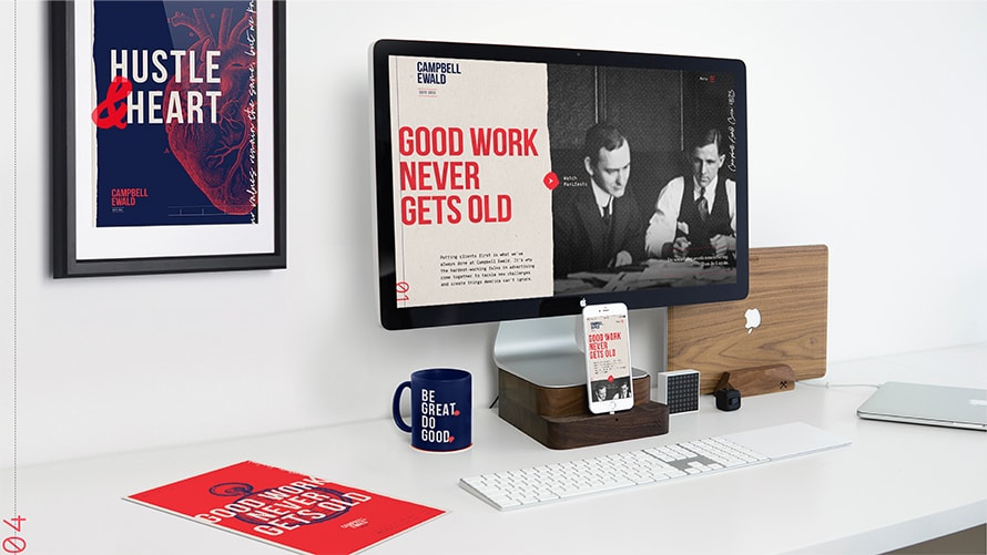 Workstation featuring Campbell Ewald rebranding messaging