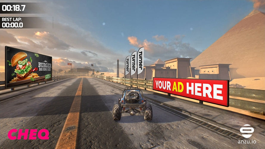 3D game driving a car down a street with burger billboard on the left and sign on the right that reads Your Ad Here