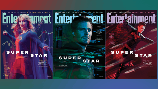 Graphic of Entertainment Weekly covers featuring CW superheroes Supergirl played by Melissa Benoist, Green Arrow played by Stephen Amell, Batwoman played by Ruby Rose, The Flash played by Grant Gustin and White Canary played by Caity Lotz.