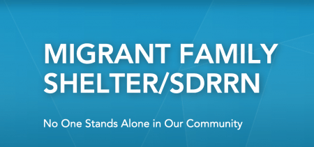 A screenshot of the Migrant Family Shelter with a caption below the logo readingNo one stands alone in our community.