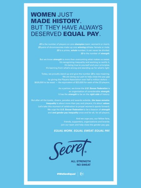 White and blue ad about women making history and equal pay