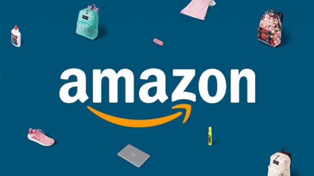 Amazon logo with shopping bag icons.