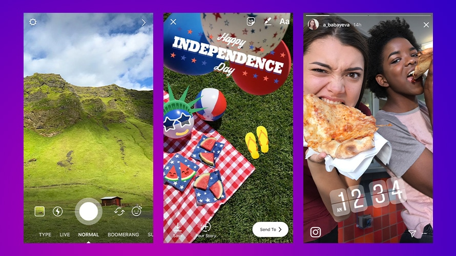 A collage of three Instagram stories including scenery of a mountain, an Independence Day picnic with balloons, a beach ball and watermelon, and two women eating pizza at 12:34 a.m.