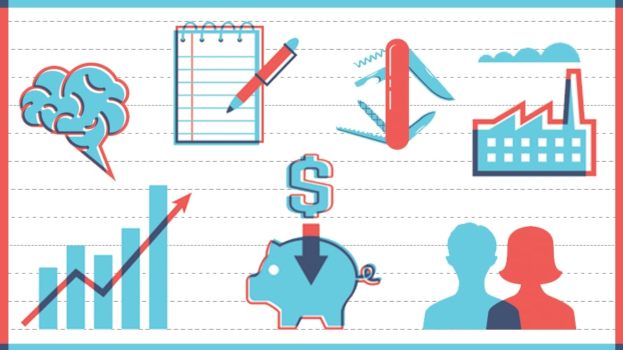 Illustration with a brain, notebook, graph, piggy bank with a dollar sign above it, pocket knife, city skyline and people