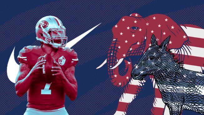 Football player in red and red elephant and blue donkey.