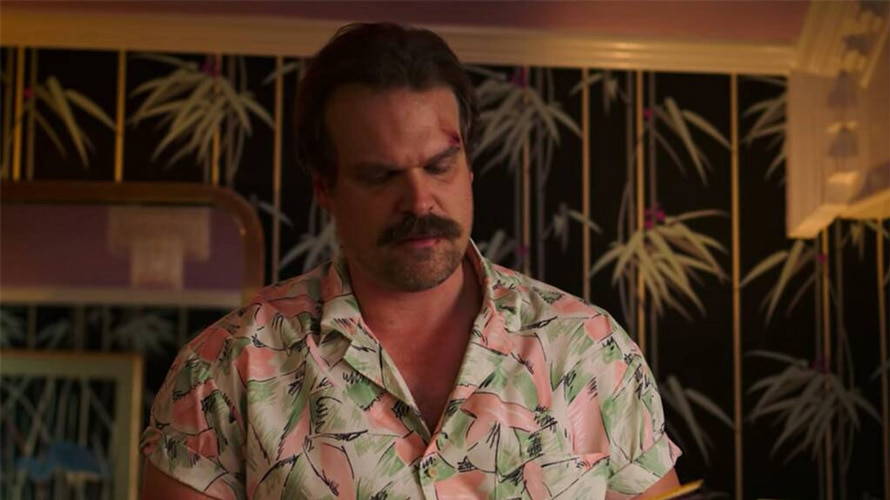 Jim Hopper in a Hawaiian shirt from Stranger Things Season 3.