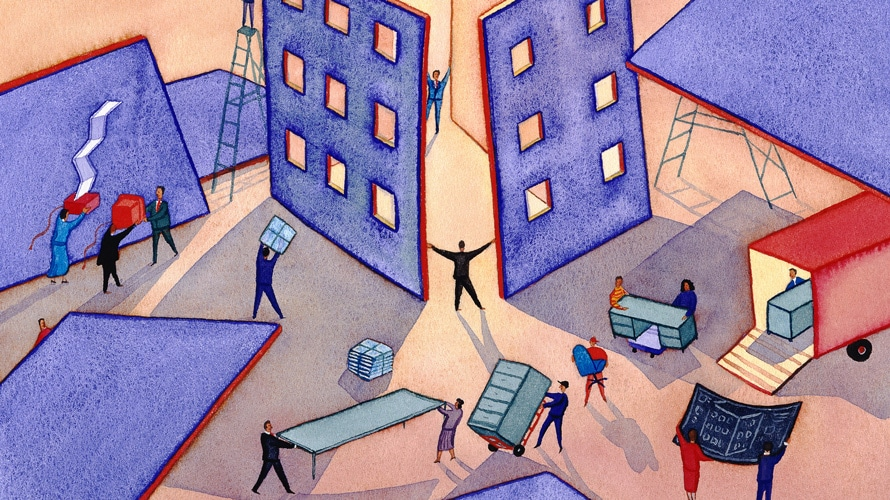 Illustration of corporate workers working together to build and office building