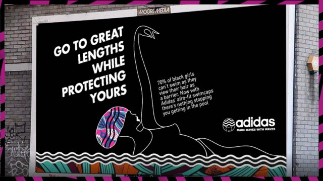 An Adidas ad about black girl's hair and swimming.