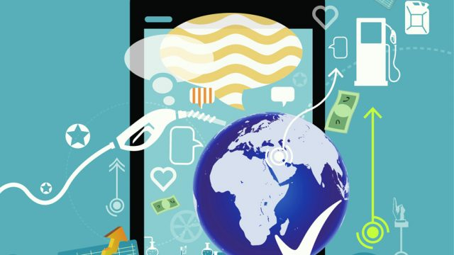 A collage illustration of gas, earth, money, arrows, text bubbles, phone, depicting the environment