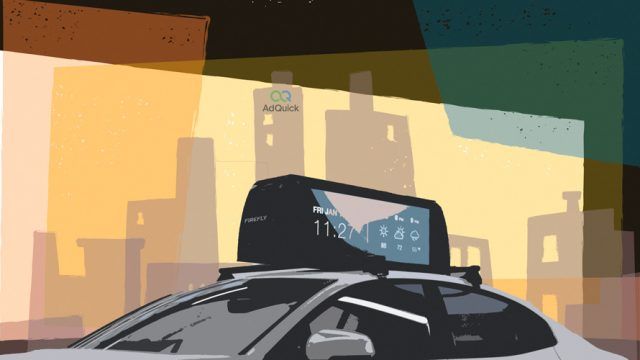 Illustration of a car with out-of-home advertising in front of a cityscape