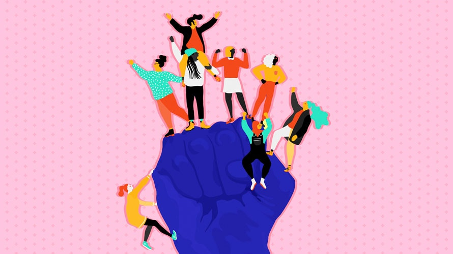 A blue fist with women climbing to the top and striking excited poses.