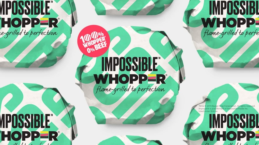 A group image of wrapped impossible whoppers