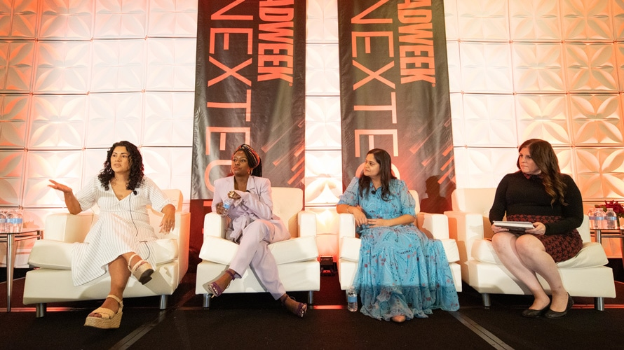 Solange Claudio, Felicia Gardner, Sargi Mann, and Lisa Lacy speaking at Adweek Nextech conference 2019