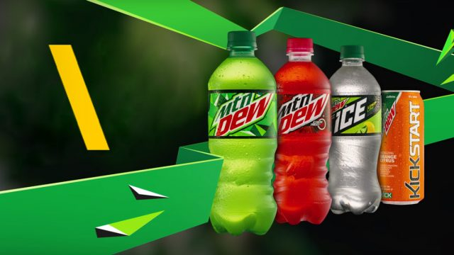 Mountain Dew, Mountain Dew Code Red, Mountain Dew Ice and Mountain Dew Kickstart drinks