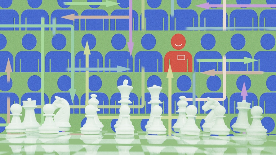 White chess pieces; blue people against a green background; one red person