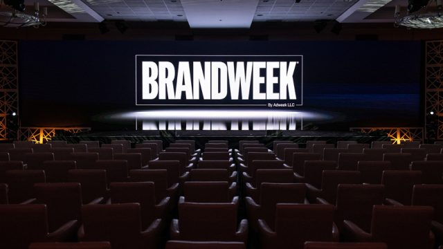 Image of a stage with Brandweek logo