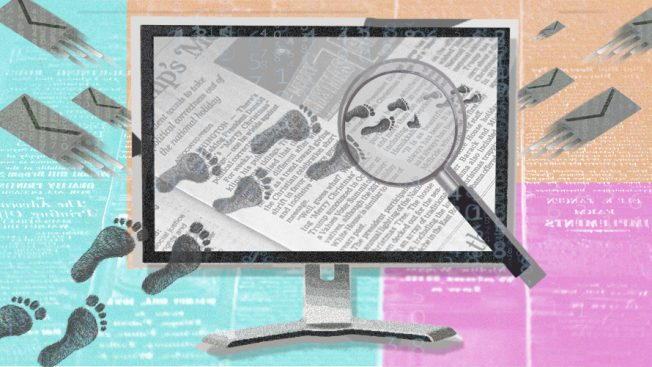 illustration of footprints over newspaper page on a computer monitor for Feroot report on online privacy