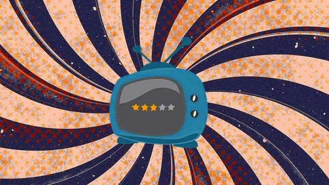 An old blue tv with a 3 start rating on a blue and orange swirled background