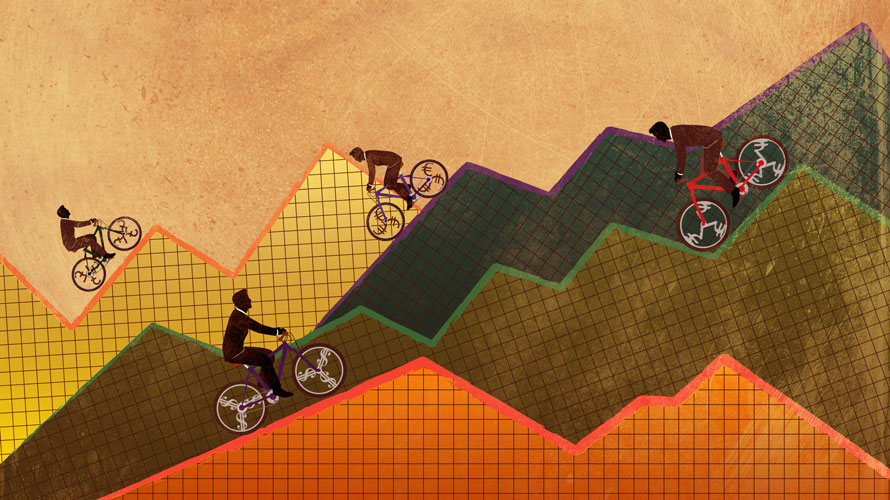 Illustration of four people riding up and down mountains of graphs