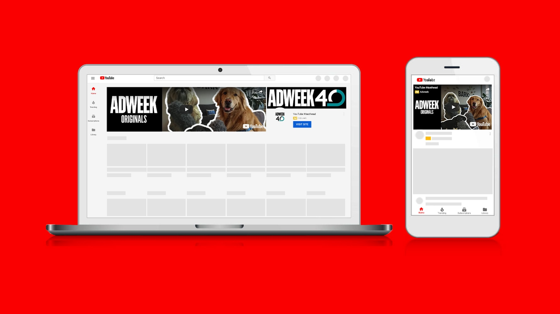 A preview, featuring Adweek, of what creative might look like for potential advertisers with YouTube's new option to buy ads on its masthead on a CPM basis