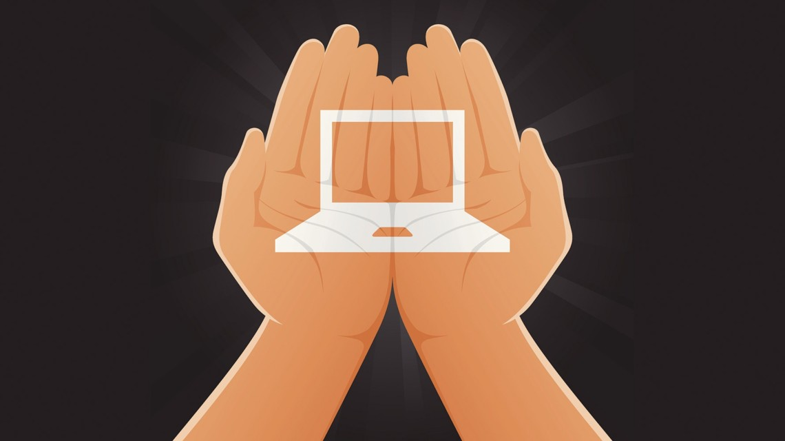 Conceptual illustration representing a laptop painted on two hands.