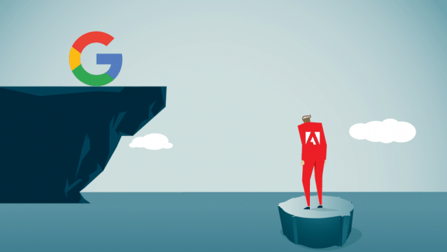 illustration depicting a person floating alone on a chunk of ice with the adobe logo on their back while google sits atop a land mass in the distance