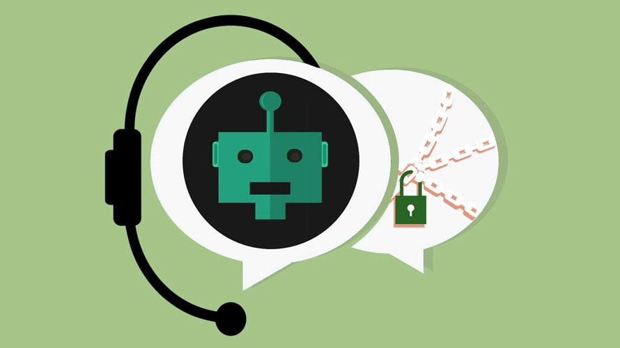 Bot in a chat bubble with a microphone next to a chained and locked chat bubble
