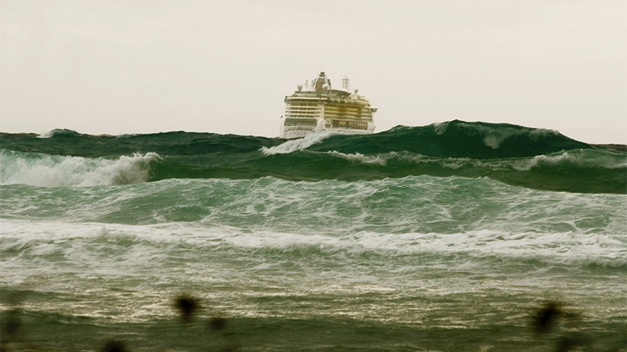 cruise ship in a storm