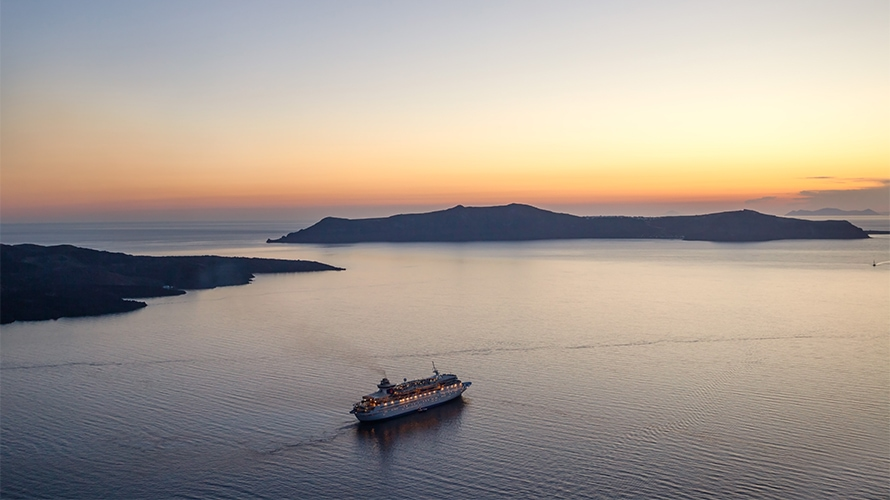 Cruise ship at sunset in Greece