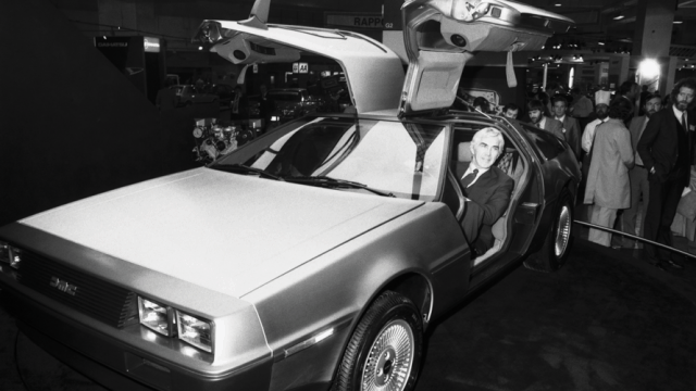 John Z. DeLorean in a DeLorean car