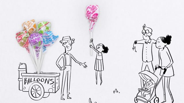 Dum Dums campaign from Smith Brothers with lollipops looking like balloons