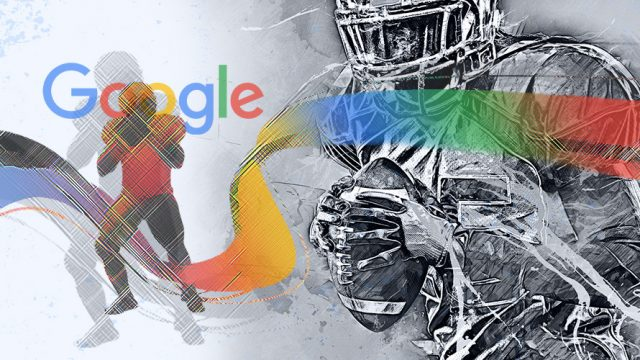 Illustration showing Google logo and football players